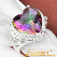 Fashion Charm Rainbow Fire Mystic Topaz 925 Silver Ring For Women Xmas Day Gift R0644 Free Shipping