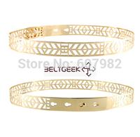 Women Belts 2014 Gold Metal Belt Iron Sequins Hollow Out Belt Width 2.5cm High Fashion Gold Skinny Slim Belts For Women