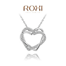 ROXI Romantic Fashion Vintage Double Heart Pendant Necklace Jewelry Statement Jewelry Crystal Charm Necklace For Women Chain