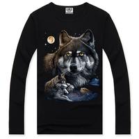 New 2014 hot men spring 3D t shirt,street fashion casual o neck 3d t-shirts,thailand design 3d t shirt wolf Europe Size,S-XxXL