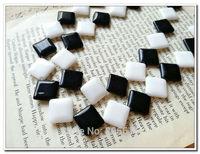 Rhombus Shape 14*14MM 44Pcs/2strands Natural Black & White Stone Bead Strands Jewelry Beads