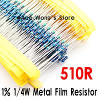 (200Pcs/Lot) 1/4W 510 ohm +/- 1% resistor 1/4w 510R ohm Metal Film Resistors / 0.25W color ring resistance
