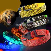 Cool New Leopard Pet Cat Dog LED Light Flashing Collar Safety Nylon Neck Collars Free Shipping 1pcs/lot