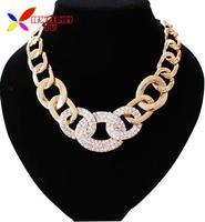 2014 false collar fashionable big golden curb chain sparkle rhinestone choker pendant & necklace for women bijoux wholesale