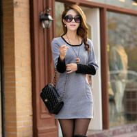 OVO!Fashion 2014 korean style long sleeve render women dress  Stitching color big yards casual dress size M-XL F.LYQ.516