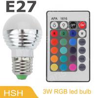 E27 3W RGB LED Light Bulb + 24key Remote Controller Magic Lighting 16 Colors change 10pcs/lot
