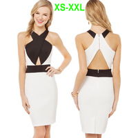 UK Brand Ladies Sexy Black White Irregular Spliced Cross Wrap Neck Hollow Out Zipper Midi Body-conscious Pencil Dress 141516761