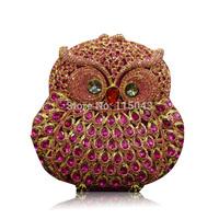 New Design Promotion !!! 2014 Owl Shape Luxury Alloy Crystal Ladies Evening Clutch  Bags Fashion Mini Women Purse and Handbags