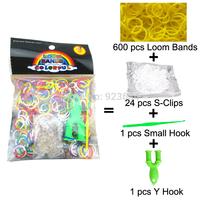 300 Packs/lot (600 Bands + 24 S-Clips + 1 Small Hook + 1 Y Hook) Loom Bands Set Bag Rubber Loom Bands DIY Bracelet (LB-05)