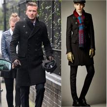 2014 Hot Men's Fashion Lengthened Barret Jacket coat man's style wind coat,Popular long wool overcoat outwear 4 Colors M-XXLA340(China (Mainland))
