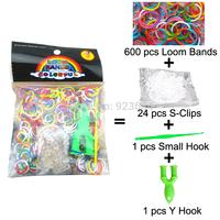 500 Packs/lot (600 Bands + 24 S-Clips + 1 Small Hook + 1 Y Hook) Loom Bands Set Bag Rubber Loom Bands DIY Bracelet (LB-05)