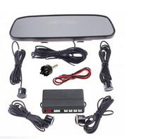 Car Parking Sensor Rearview Mirror 4 Parking Sensor Backup Rador Monitor Parking Reverse Free shipping