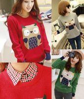 New Women Cute Cartoon Owl Knitted Pullover Sweater Casual Loose Knitwear Jumper