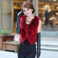 2014 new fashion  Winter Sleeveless Warm Women  fox fur vest  Miss grass raccoon fur coat mink fur coat  Winter