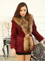 Girls long section of a large raccoon fur collar rabbit fur coat new