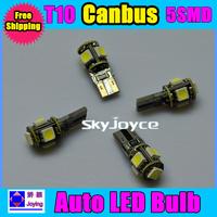 10PCS/LOT car w5w 194 T10 5 led SMD 5050 5smd canbus obc error free led bulb lamp light free shipping