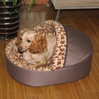 New Arrival Soft Sponge Leopard Pet Dog Cat Bed Houses Lovely Warm Doggy Kennel Princess Nest Size S M L 2 Colors