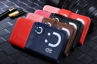 10 PCS / LOT Smile Magnetic Leather + Soft TPU Wallet Credit Stand Skin Cover Case for Samsung Galaxy S5 i9600