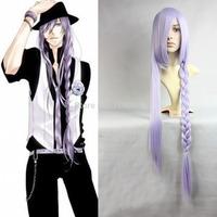 Gakupo Vocaloid 2 Gumi Light Purple Braid Long Party Cosplay Wig Kanekalon Fiber Hair full queen Wigs