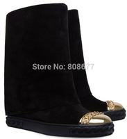 Designer Brand Women Gold Cap Wedge Knee High Boots Causal Flats Genuine Leather Autumn Tall Suede Boot Height Increasing Shoes