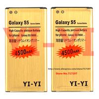 Hot!Free shipping,2pcs,YI-YI High Capacity 3.8V 4500mAh Li-ion Battery for Samsung Galaxy S5 i9600 - Golden