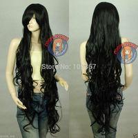 Black Sexy Extra Long Wavy Cosplay WigKanekalon Fiber Hair full queen Wigs