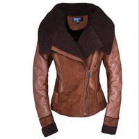 2014 New Women winter coat Fashion Short design Personality oblique zipper warm jacket Lady Sheepskin Wool-One Outerwear
