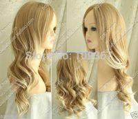 light blonde mix long curly WIGKanekalon Fiber Hair full queen Wigs