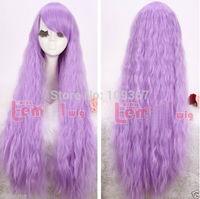 Lolita new fashion Purple Long Curly Cosplay Wig Kanekalon Fiber Hair full queen Wigs