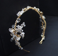 SALE Gold Leaves and Flowers Vintage Bridal Hair Comb Gold Bohemian Headpiece Vintage Bridal Brooch Comb SE1003