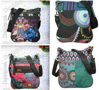 Fashion Embroidered Bird Flower Pattern Vintage Women's Girl's Casual Handbag Desigual Shoulder Bag Canvas Messenger Bag