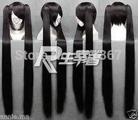 Women's Vocaloid Zatsune Miku 2x clip ponytail BRS BLACK ROCK SHOOTER Wig Kanekalon Fiber no lace Hair full queen Wigs
