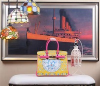 ALL NEW High-quality (1:1) 35CM Yellow and Rosy red  print (H-handbags) Women's handbags 100% Genuine leather Gold hardware