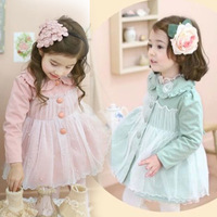 Free shipping Girls cardigan coat 2014 Spring and Autumn new Korean children's clothing female baby princess lace long-sleeved
