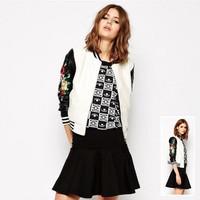 2014 autumn women's faux leather jacket coat slim winter jackets for women embroidery patchwork sleeve jaqueta de couro feminina