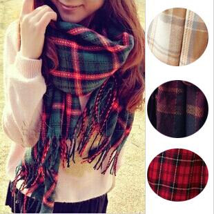 Plaid scarf woman apparel & accessories scarves cashmere imitation tassels red multi autumn winter women wrap shawl tartan scarf(China (Mainland))