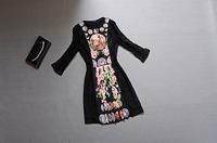 2014 Autumn and Winter Dresses Vintage Print Floral Lace Black O-Neck Short Waist  Dress