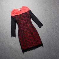 2014 Autumn Winter Women Dresses Full Sleeve O-neck Lace Hollow Out Slim Dress Red Blue Short Elegant Dress