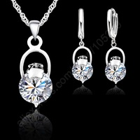 Faashion Silver Jewelry Sets CZ Wedding Nice Real 925 Sterling Silver Swiss Cubic Zirconia CZ Pendant Necklaces Earrings Hot