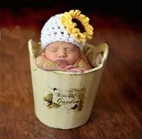 Sunflower Style Baby Knitting Hat Handmade Crochet Photography Props Newborn Baby Accessories Baby Winter Cap Beanies