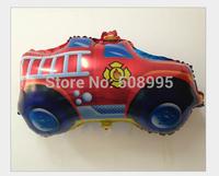 New 10p Cartoon Balloon Fire Engine Car  Shape  Helium Foil Balloon Birthday Party Wedding Decoration Christmas Gift  Kids   Toy