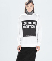 2014 Autumn Women's Contrast Color Knitted Hoodies Letter Printed Sweatshirts For Women Desigual Elegant Ladies casual Pullovers