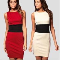 Dress New 2015 women summer dress solid High waist temperament slim sleeveless OL dress fashion girl casual dress plus size