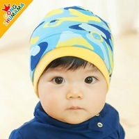 Children's hats baby hats baby hat spring and winter camouflage cap sleeve cotton bonnet headgear