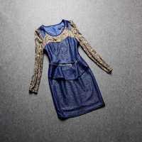 2014 Women Winter Autumn Dresses Lace Slim Zipper Diamond Patch Work Short Dress  Blue
