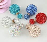 High quality cc earringsGenuine Fashion Super Flash Colorful rhinestones Bubble-sided earrings New Pearl Jewelry