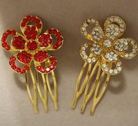 Red /Gold /Silver 4pcs/lot BRIDAL BRIDESMAID DIAMANTE CRYSTAL MINI HAIR COMB WEDDING PROM