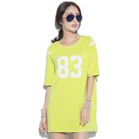 2014 Harajuku 83 printed baseball Tee Reversible wear long loose T-shirt printing women's t shirt dress