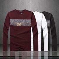 Free shipping 2014 New Long Sleeve Shirts For Men Fashion Slim Style printed  men t-shirt men famous brand