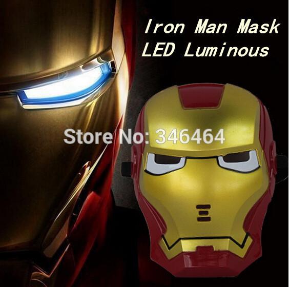 Free Shipping Cool Cosplay Iron Man Mask Blue Luminous LED Eyes Halloween children's Toys Boy Gift / Retail and Wholesale(China (Mainland))